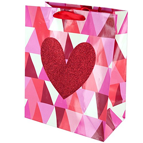123-Wholesale - Set of 48 Geometric Heart Valentine's Gift Bag - Gift Wrapping Gift Bags