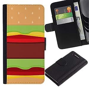 A-type (Hamburger Fast Food Pop Art Junk Brown) Colorida Impresión Funda Cuero Monedero Caja Bolsa Cubierta Caja Piel Card Slots Para Sony Sony Xperia Z1 Compact / Z1 Mini (Not Z1)