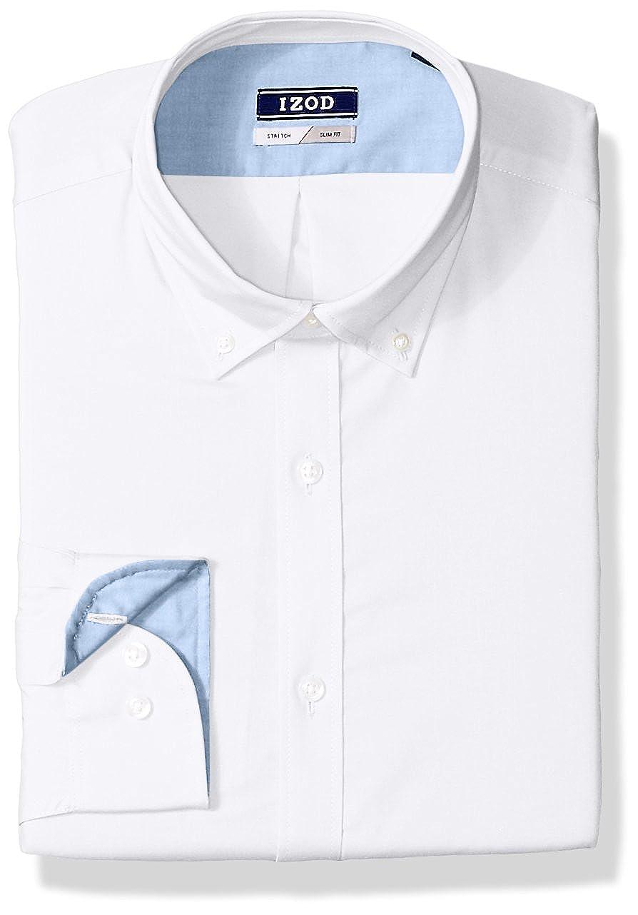 Izod Mens Standard Slim Fit Solid Buttondown Collar Dress Shirt