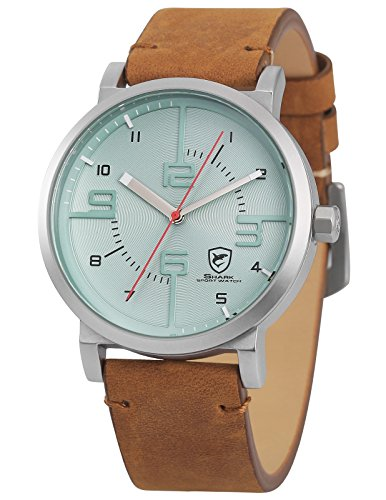 (Shark Sport Watch, Men's Brown Leather Quartz Wrist Watch SH569)