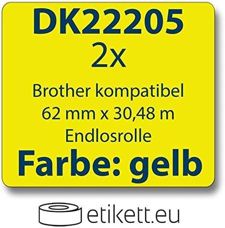 2x Label kompat zu Brother DK22205 62 mm x 30,48 m endlos gelb