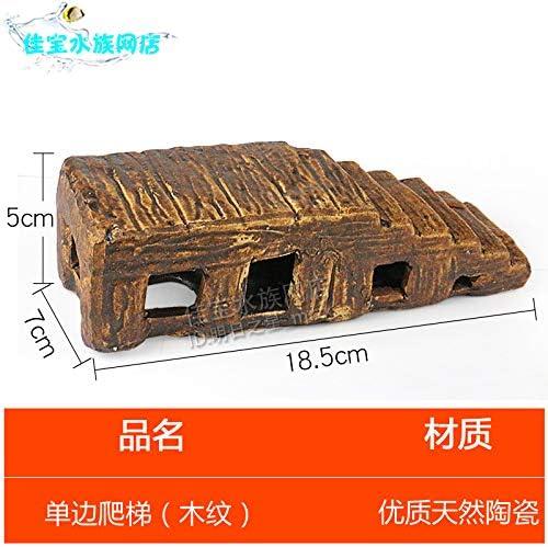 JRTAN y Pet Turtle Sun Back Taiwan cerámica paisajismo Cueva de Tortuga Concha, Escalera de imitación de Grano de Madera (Unilateral): Amazon.es: Productos para mascotas
