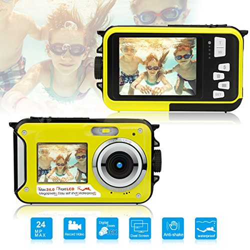 Dual Screen Waterproof Underwater Sports Action HD Mini Digital Video Recorder Camera,24MP 1080P Point and Shoot Digital Camcorder Camera-Yellow (Video Underwater Recorder)