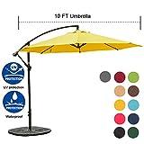 Sundale Outdoor 10FT Offset Umbrella Cantilever Umbrella Hanging Patio Umbrella with Crank and Cross Bar Set, Steel Ribs, Polyester Canopy Shade for Deck, Garden, Backyard