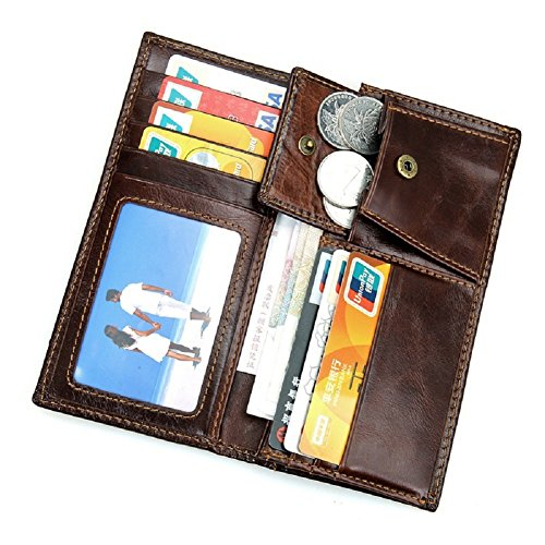 Genuine with Mens Pocket Card Long Artmi Chocolate Wallet Coin RFID Leather Chocolate Holder 8Ivqdf6nd