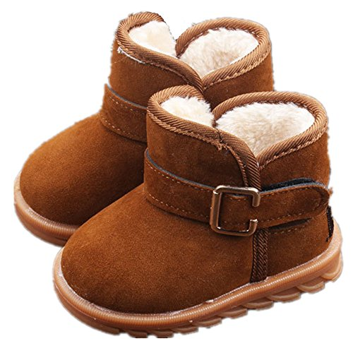 EsTong Toddler Baby Boy Girl Thick Winter Outdoor Snow Boots Anti-Slip Fur Lined Booties Brown 22:18-24Months/5.3""