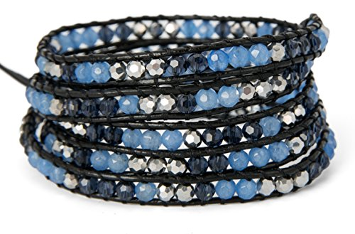 5 Wrap Bracelet in Blue, Silver Iridesce - Light Blue Collection Shopping Results