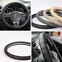 "Circle Cool 58001 Black Leather Steering Wheel Cover 14"" and 15"" Medium Size"