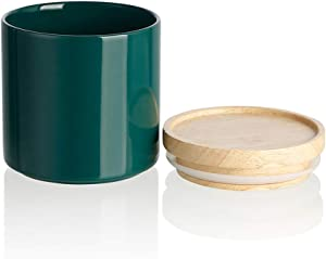SWEEJAR Kitchen Canisters Ceramic Food Storage Jar, Stackable Containers with Airtight Seal Wooden Lid for Serving Ground Coffee, Tea, Sugar, Salt and More - 16 FL OZ (Jade)