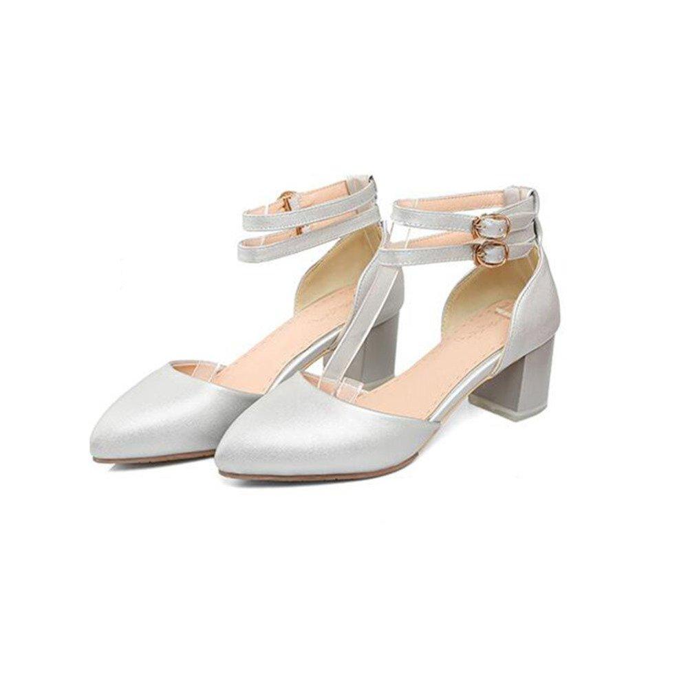 ZHWEI Zapatos de tacón MX6316 Primavera y Verano Sandalias (Altura del talón 5CM) EU40/UK7/CN41 Beige