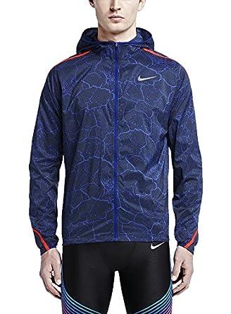 Nike Men's Impossibly Light Jacket Crackled - Deep Royal Blue/Bright Crimson /Deep Royal Blue - SM