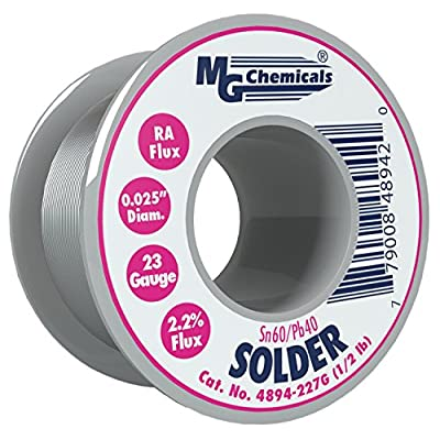 MG Chemicals 4894-227G 60/40 Rosin Core Leaded Solder, 0.025