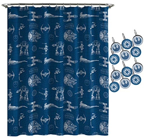 Jay Franco Star Wars Vehicle Schematics Shower Curtain & 12-Piece Hook Set & Easy Use - Kids Bath Set Features Millennium Falcon (Official Star Wars Product)