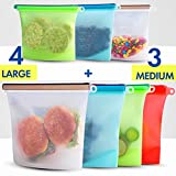 Reusable Eco Silicone Food Storage Bulk Bags Size Plastic Containers Cooking Bag Sets for Sous Vide Liquid Snack Lunch Freezer Microwave 7 silicone storage bags for Fruits Vegetables Set