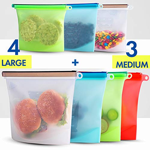 (Reusable Eco Silicone Food Storage Bulk Bags Size Plastic Containers Cooking Bag Sets for Sous Vide Liquid Snack Lunch Freezer Microwave 7 silicone storage bags for Fruits Vegetables Set )