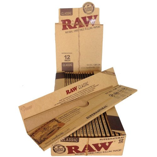 RAW ROLLING PAPERS EXTRA LONG SUPER NATURAL 12'' 20 LEAVES PER PACK UNFLAVORED FLAVOR PACK OF 20