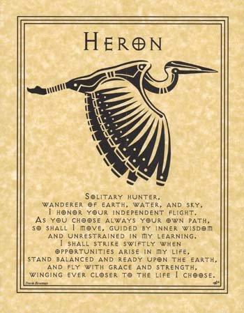 Heron Animals (Heron Animal Spirit Small Parchment Paper Poster of Prayer 8 1/2