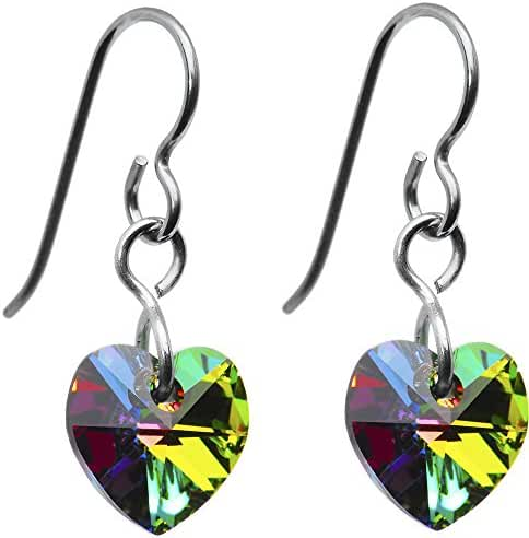 Solid Titanium Vitrail Heart Earrings Created with Swarovski Crystals