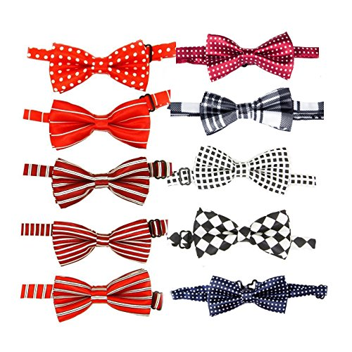 (Itplus 10PCS Pet Dog Cat Collar Charms Bow Ties Adjustable Neck Collar Boys Girls Bowknot Necktie for Wedding Party Grooming Accessories )