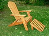 Folding Cedar Adirondack Chair W/ottoman Footstool & Stained Finish, Amish Crafted