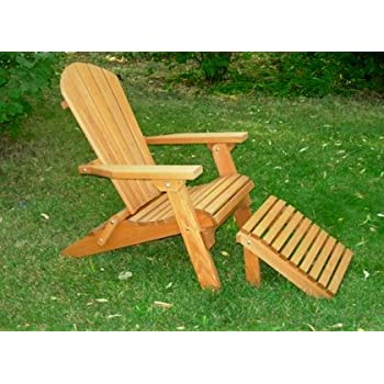 Folding Cedar Adirondack Chair W/ottoman Footstool U0026 Stained Finish, Amish  Crafted
