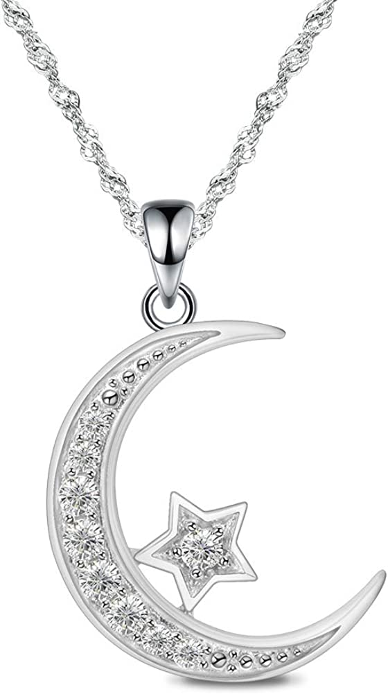 Two Color Moon Star Pendant Necklace 925 Solid Sterling Silver Cubic Zirconia Gemstone Rose Gold Vermeil Dainty Layering Necklace