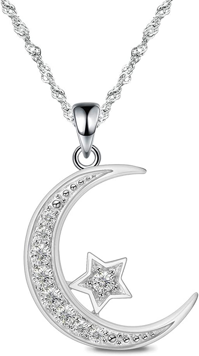 Cubic Zirconia Pendant,GreenTurquoiseCobaltFuchsiaBlack CZ,44x5mm,sku#fdc-F53 1pc5pcs,CZ Micro Pave Crescent Moon and Star Pendant