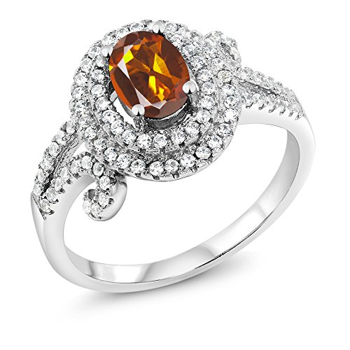 Madeira Citrine Ring (1.95 Ct Oval Orange Red Madeira Citrine 925 Sterling Silver Ring)