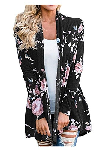 AuntTaylor Womens Chic Long Flowy Cardigan Causal Boho Front Open Jackets Black XL by AuntTaylor (Image #6)