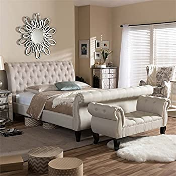 Hawthorne Collections Tufted Queen Sleigh Platform Bed in Beige