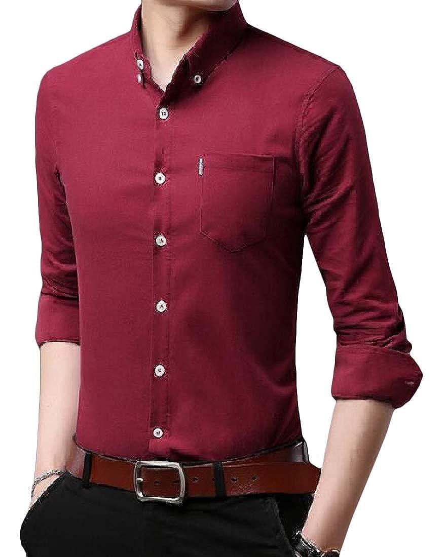 Cromoncent Men Comfortable Cotton Long Sleeve Button Down Slim Fit Shirts