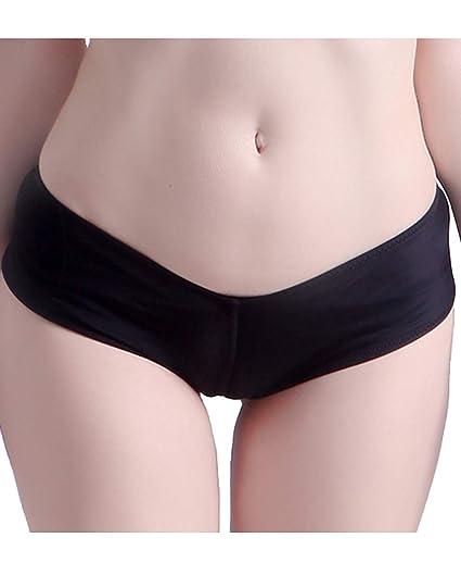85490ba088025 Amazon.com: HDE Women's Brazilian Deep V-Style Ruched Cheeky Bikini Bottom  Black Swimsuit: Clothing