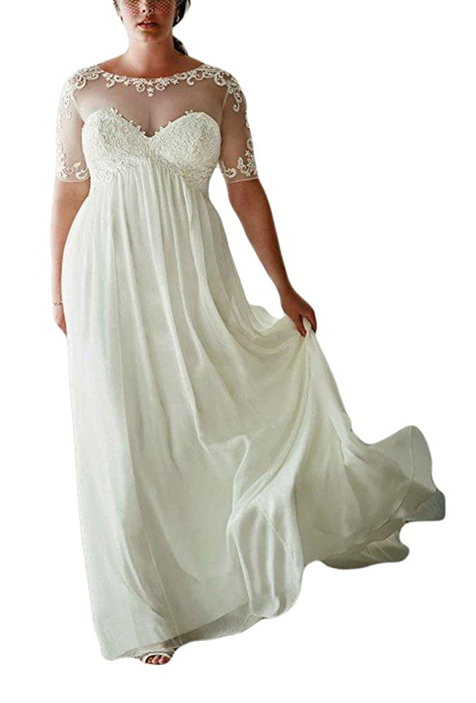 Vikdressy Womens Plus Size Lace Chiffon Beach Wedding Dresses With