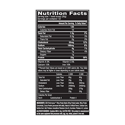 Cellucor Cor-Performance Whey Protein, Molten Chocolate, 52 Servings