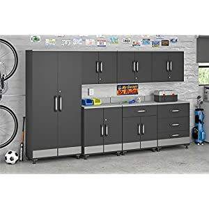 Ameriwood Home Boss, Tall Storage Cabinet, Gray