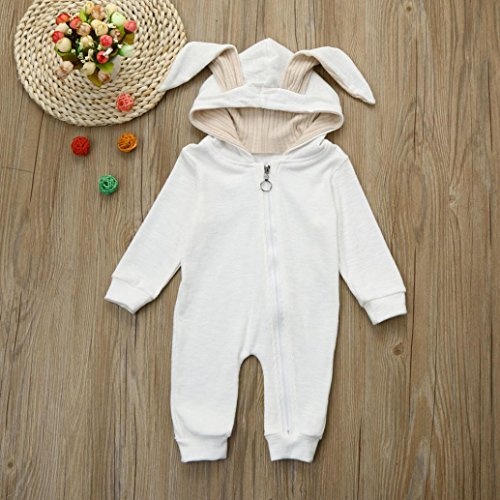 Iumei Unisex Baby Jumpsuit Clothes Rabbit Ears Long Sleeve Zip up Hoodie Romper Outfit