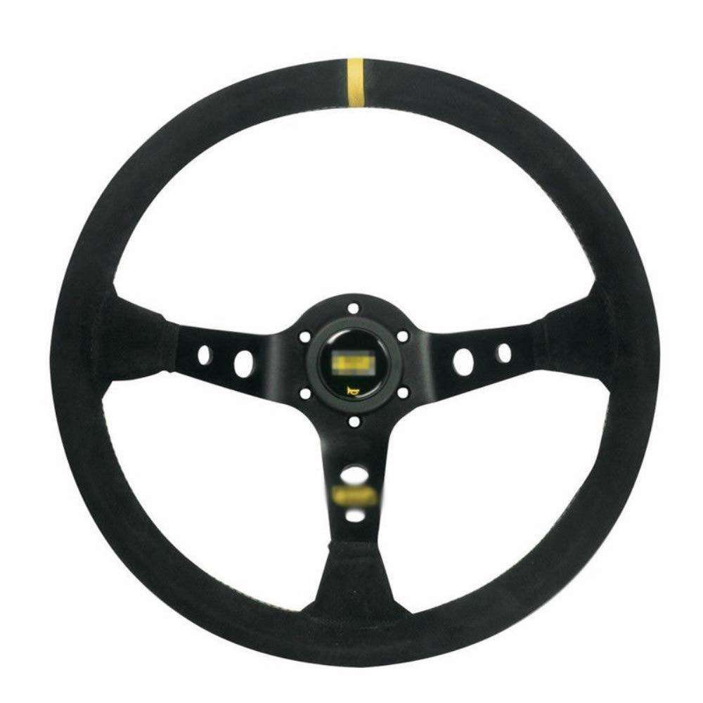For Corsica Deep Dished Suede Leather Aluminum Steering Wheel OMP 14' Black Stitch Solid Ting Ao