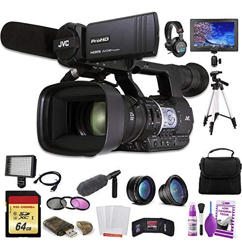 JVC GY-HM620 ProHD Mobile News Camera (GY-HM620U) W/ 64GB Memory Card, Bag, Tripod, Led Light, Sony Headphones, Mic, and External Monitor