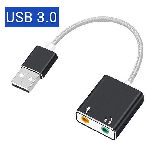 YSM Adaptador USB 7.1 Tarjeta De Sonido USB Externa Tipo C/USB A ...