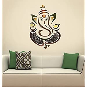 Decals Design 'Modern Elegant Ganesha God' Wall Sticker (PVC Vinyl, 50 cm x 70 cm, Multicolour)