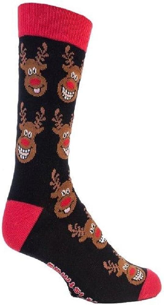 1 Par Para Hombre Festive Feet Regalo Navidad Rudolf The Reno Calcetines 6-11 REINO UNIDO 39-45 EUROS Negro