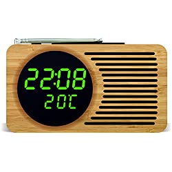 Retro Bamboo FM Radio Alarm Clock with Large Digital LED in green / Month Year and Temperature function / Compact for Camping