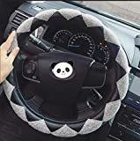 KYCD Multi-Function car Steering Wheel Cover Car Steering Wheel Cover Bling Bling Rhinestone Leather Handcraft Car Steering Wheel Cover by NaXinF (Color : White)