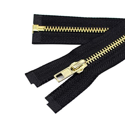 (YaHoGa 2PCS #5 28 Inch Brass Separating Jacket Zipper Metal Zippers for Jackets Coats Sewing Crafts Bulk (28