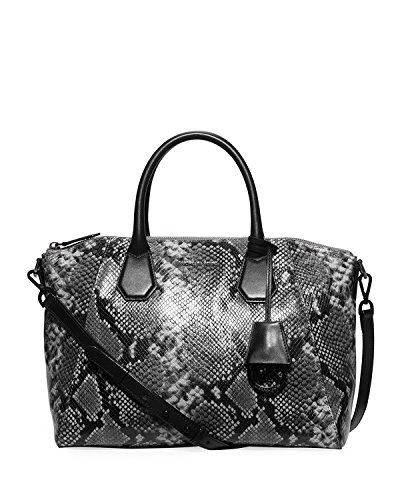 Michael Kors Campbell Large Satchel Steel Grey Embossed ()