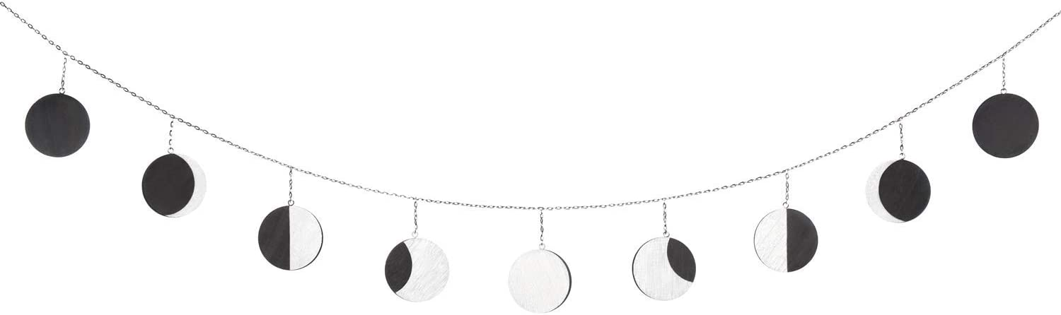 Mkouo Moon Phase Garland with Chains Boho Gold Shining Phase Wall Hanging Ornaments Moon Hang Art Room Decor for Wedding Home Office Nursery Room Dorm Silver