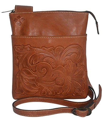 Patricia Nash Italian Leather Tooled Stipes Sling Crossbody Handbag Purse Florence -