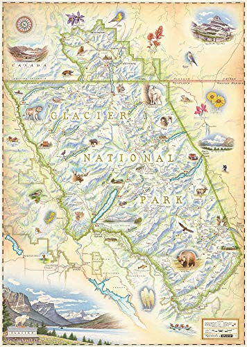 Xplorer Maps Glacier National Park Map - Authentic Hand Drawn Map Art of Glacier - Lithographic Fine-Art Print