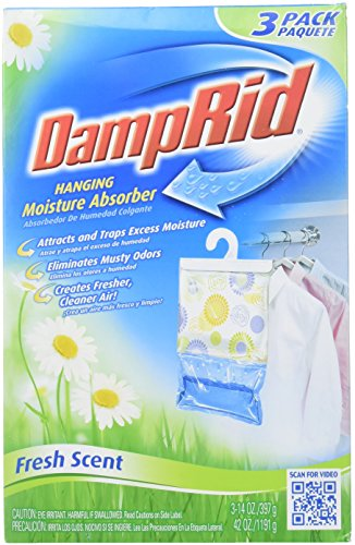 (DampRid FG83K Hanging Moisture Absorber Fresh Scent (3 Boxes of 3 bags, Total of 9)