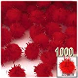 The Crafts Outlet Chenille Sparkly Pom Poms, Red porcupine, 1.0-inch (25-mm), 1000-pc, Red